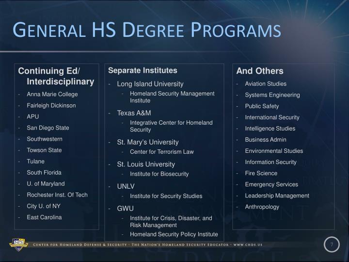 General HS Degree Programs