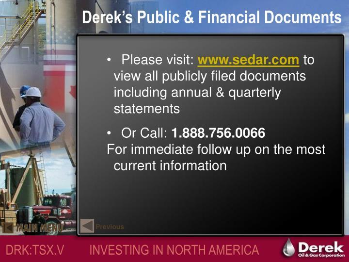 Derek's Public & Financial Documents