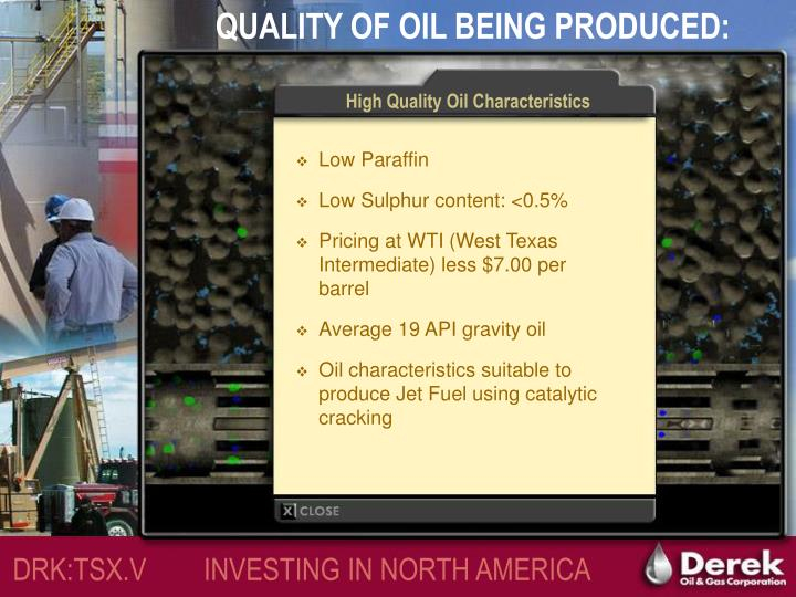 High Quality Oil Characteristics