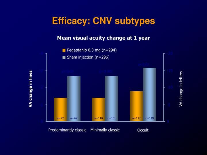 Efficacy: CNV subtypes