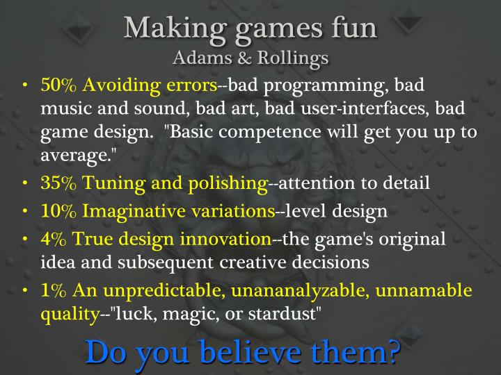 Making games fun