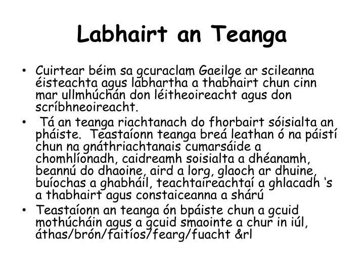 Labhairt an Teanga