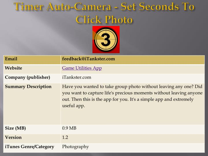 Timer auto camera set seconds to click photo