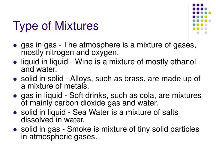 Type of Mixtures