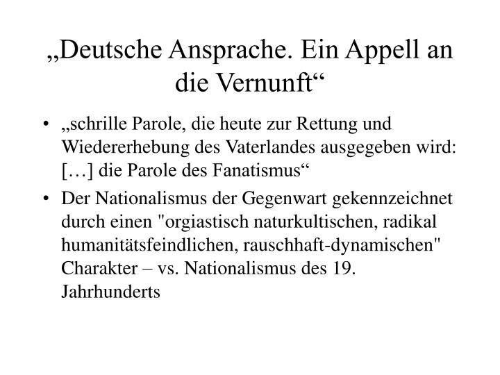 """""""Deutsche Ansprache. Ein Appell an die Vernunft"""""""
