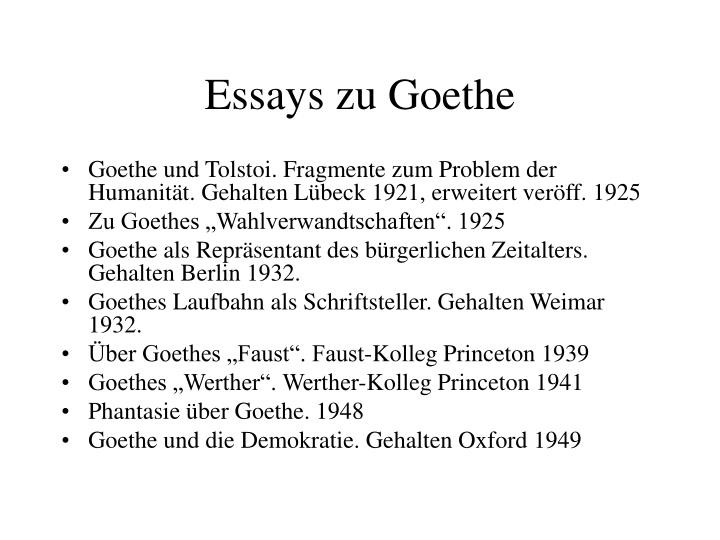 Essays zu Goethe