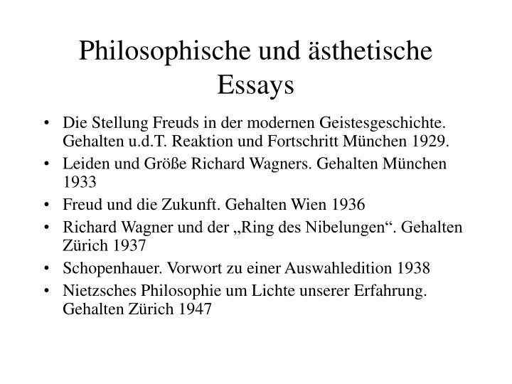Philosophische und ästhetische Essays