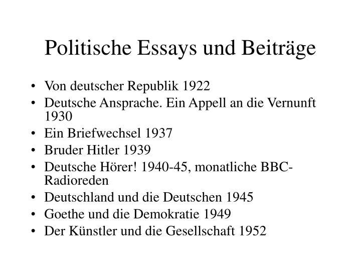 Politische Essays und Beiträge