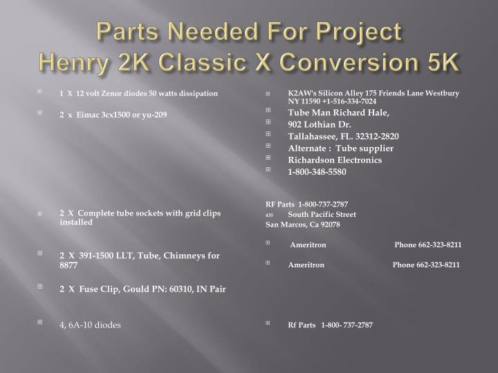 Parts Needed For Project