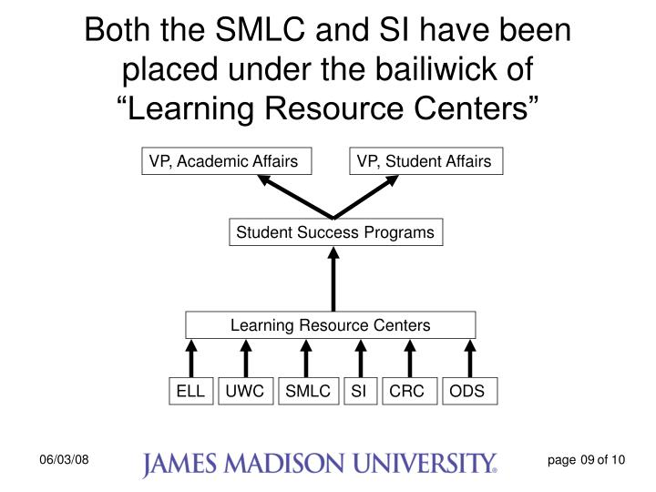 "Both the SMLC and SI have been placed under the bailiwick of    ""Learning Resource Centers"""