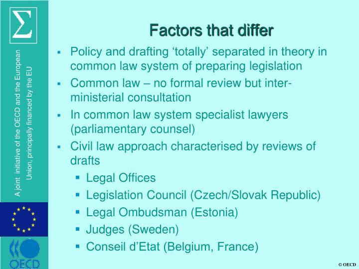 Factors that differ