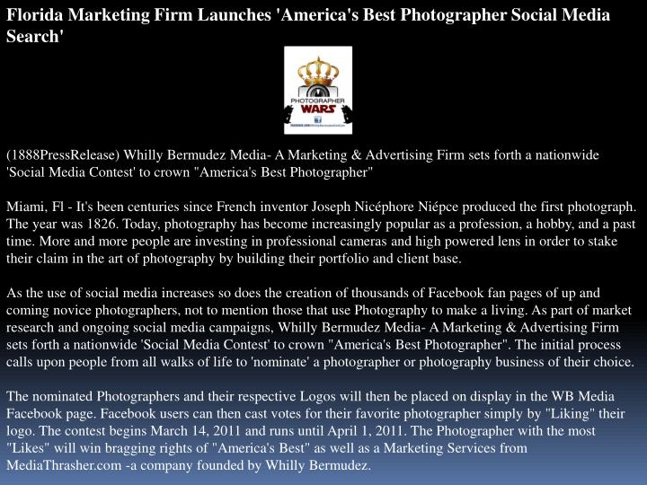 Florida Marketing Firm Launches 'America's Best Photographer Social Media Search'