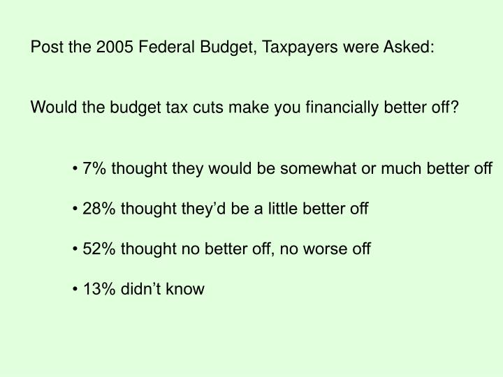 Post the 2005 Federal Budget, Taxpayers were Asked: