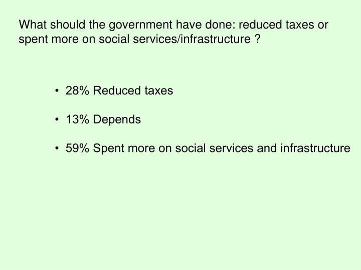 What should the government have done: reduced taxes or spent more on social services/infrastructure ?