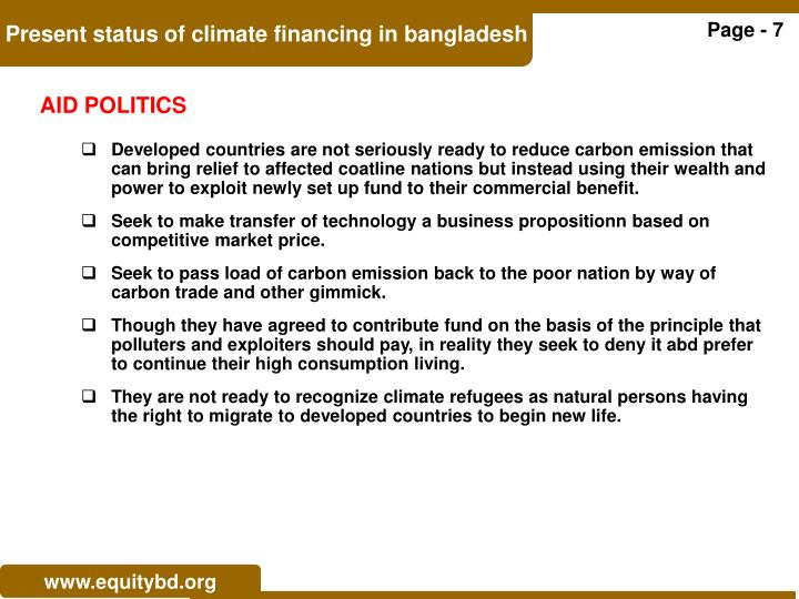 Present status of climate financing in bangladesh