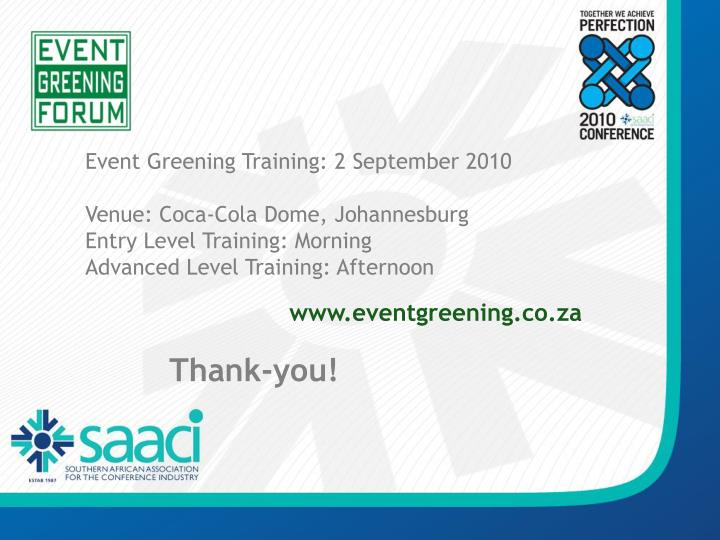 Event Greening Training: 2 September 2010