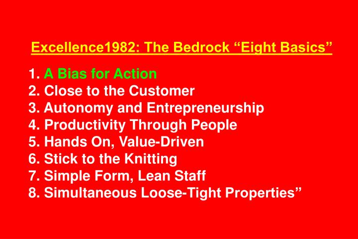 "Excellence1982: The Bedrock ""Eight Basics"""