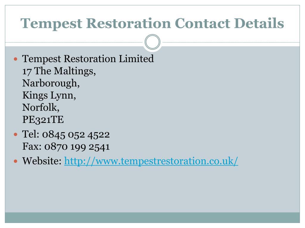 Tempest Restoration Contact Details