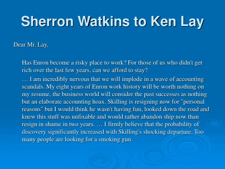 Sherron Watkins to Ken Lay