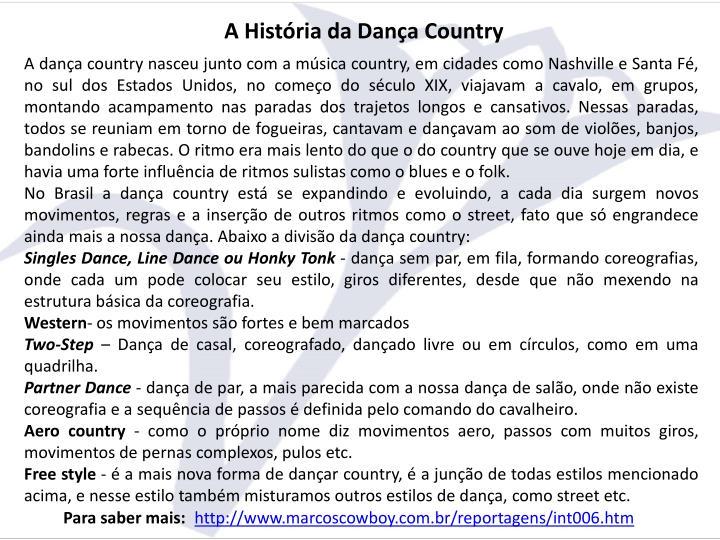 A História da Dança Country