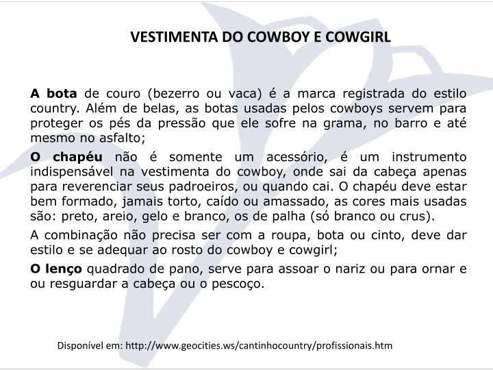 VESTIMENTA DO COWBOY E COWGIRL