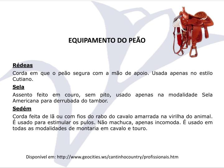 EQUIPAMENTO DO PEÃO