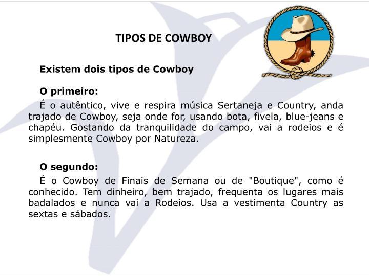 TIPOS DE COWBOY