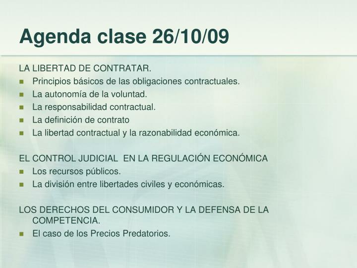 Agenda clase 26/10/09