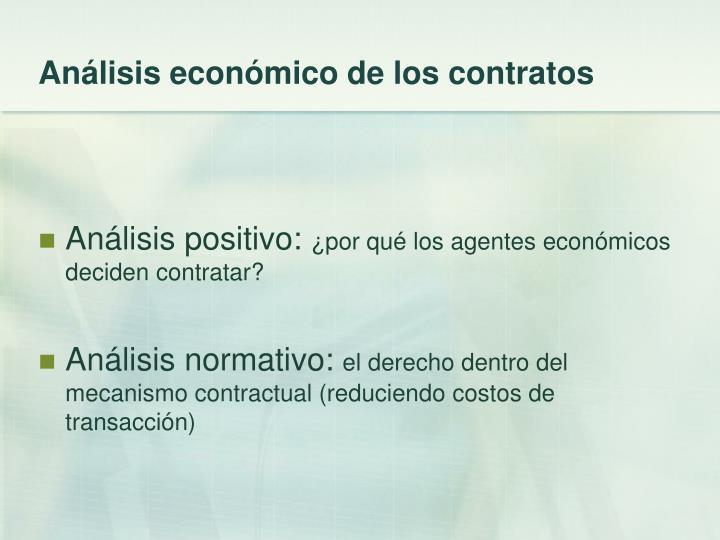 Análisis económico de los contratos