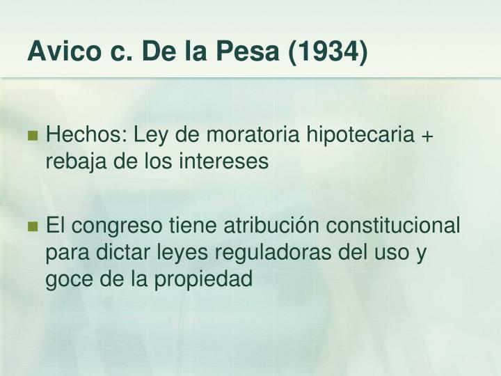 Avico c. De la Pesa (1934)