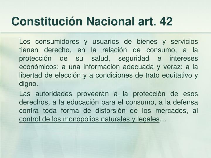 Constitución Nacional art. 42