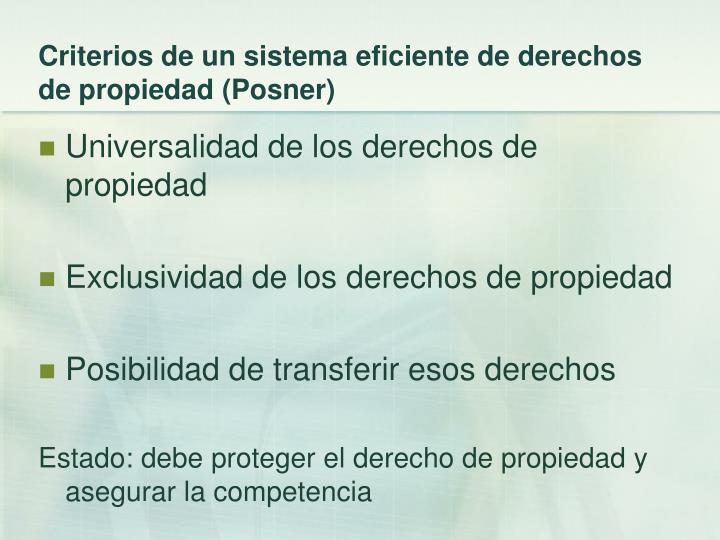 Criterios de un sistema eficiente de derechos de propiedad (Posner)