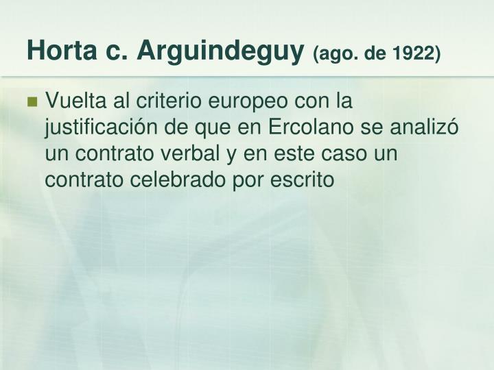 Horta c. Arguindeguy