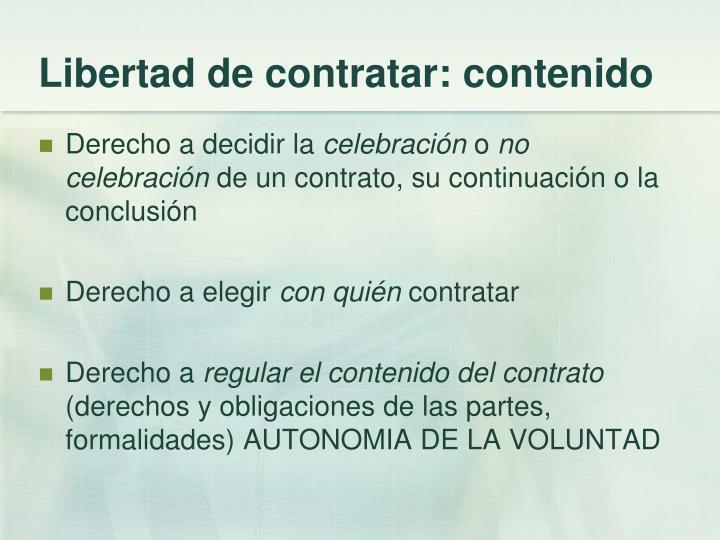 Libertad de contratar: contenido