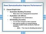 does demutualisation improve performance