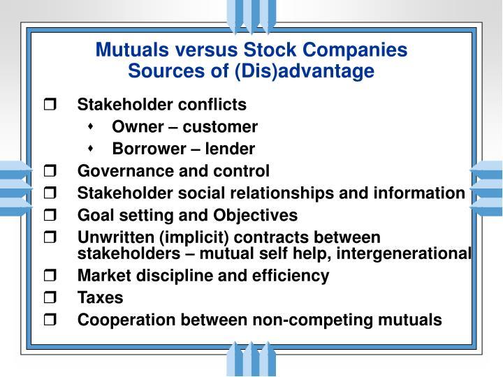 Mutuals versus Stock Companies