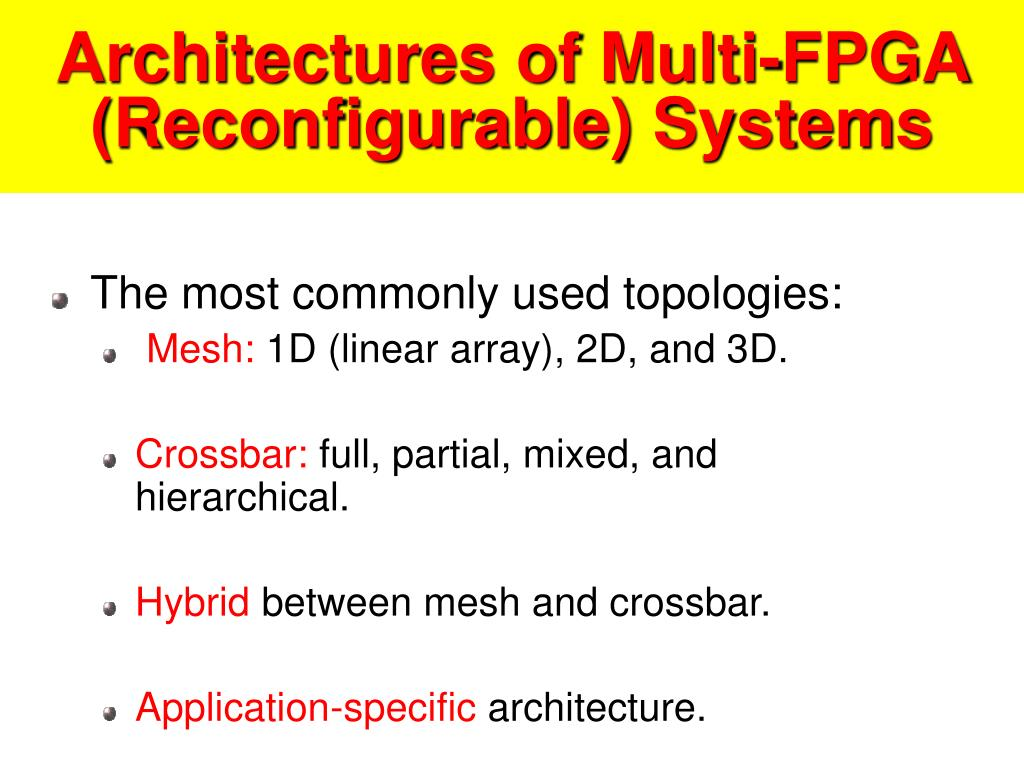 Architectures of Multi-FPGA (Reconfigurable) Systems