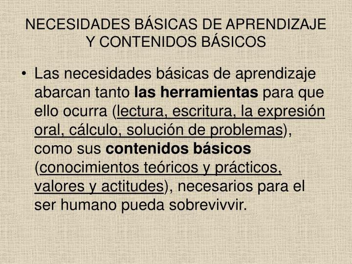 NECESIDADES BÁSICAS DE APRENDIZAJE Y CONTENIDOS BÁSICOS