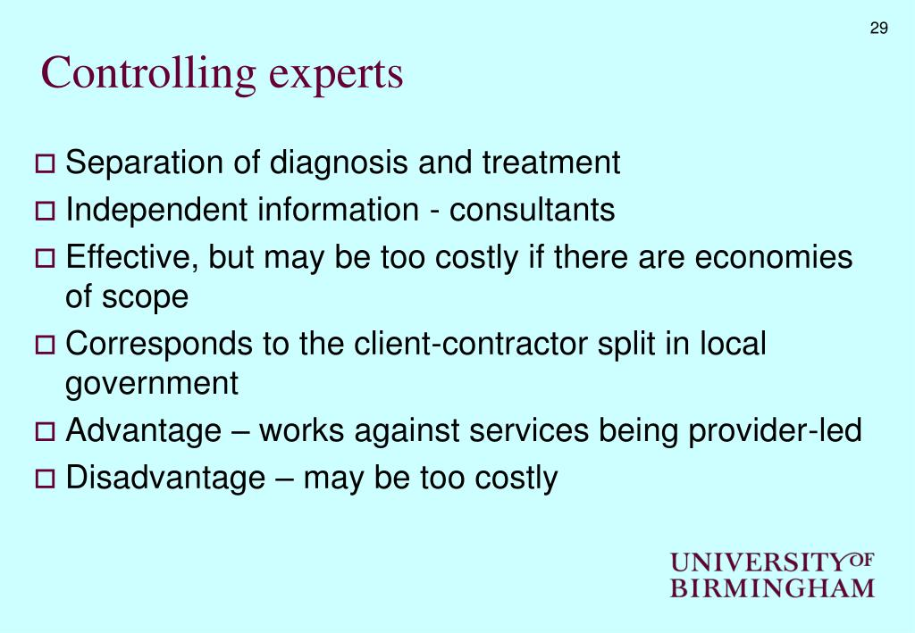 Controlling experts
