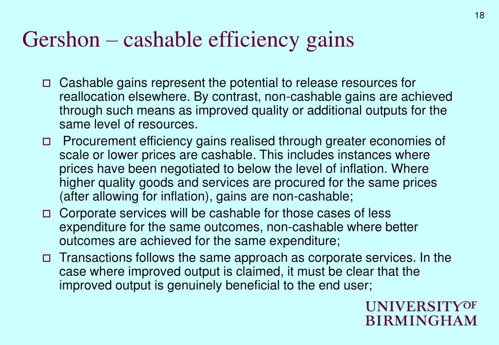 Gershon – cashable efficiency gains