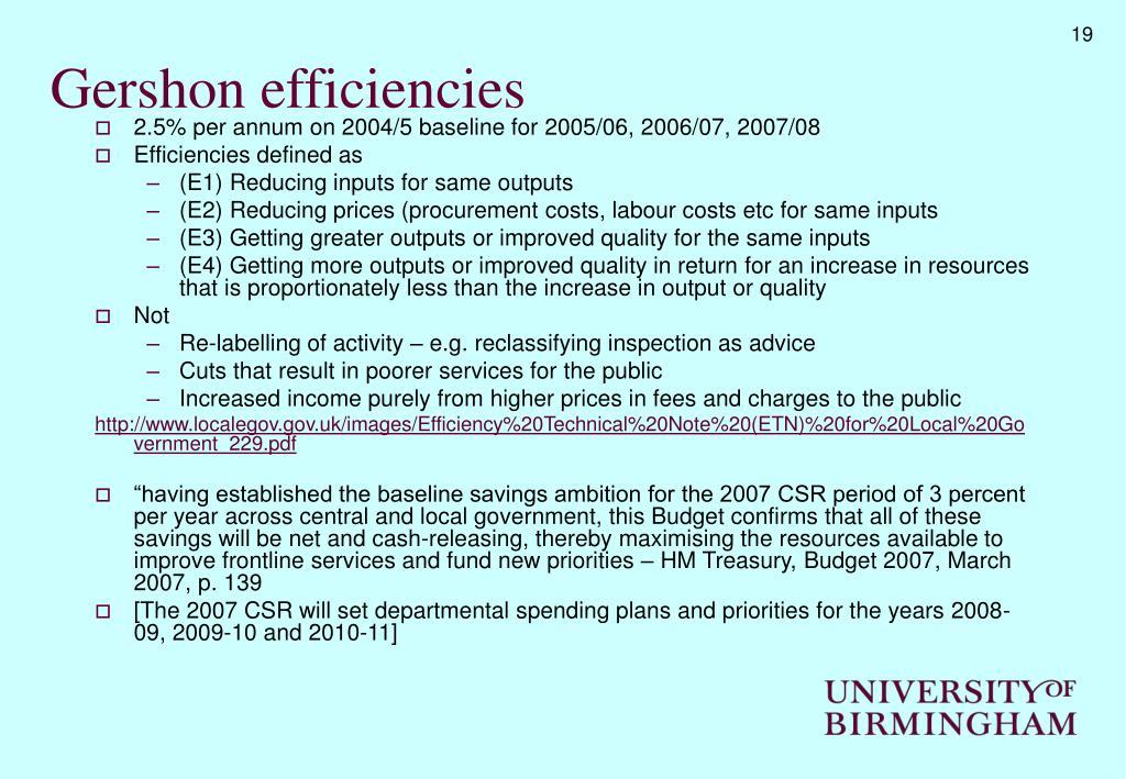 Gershon efficiencies