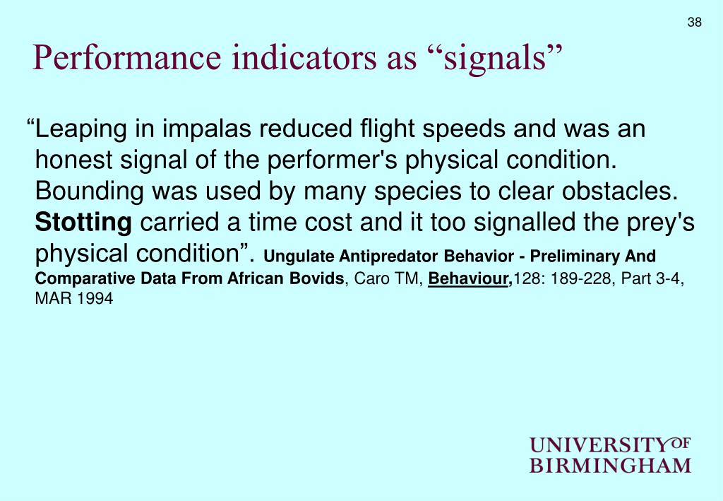 """Performance indicators as """"signals"""""""