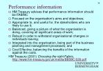 performance information