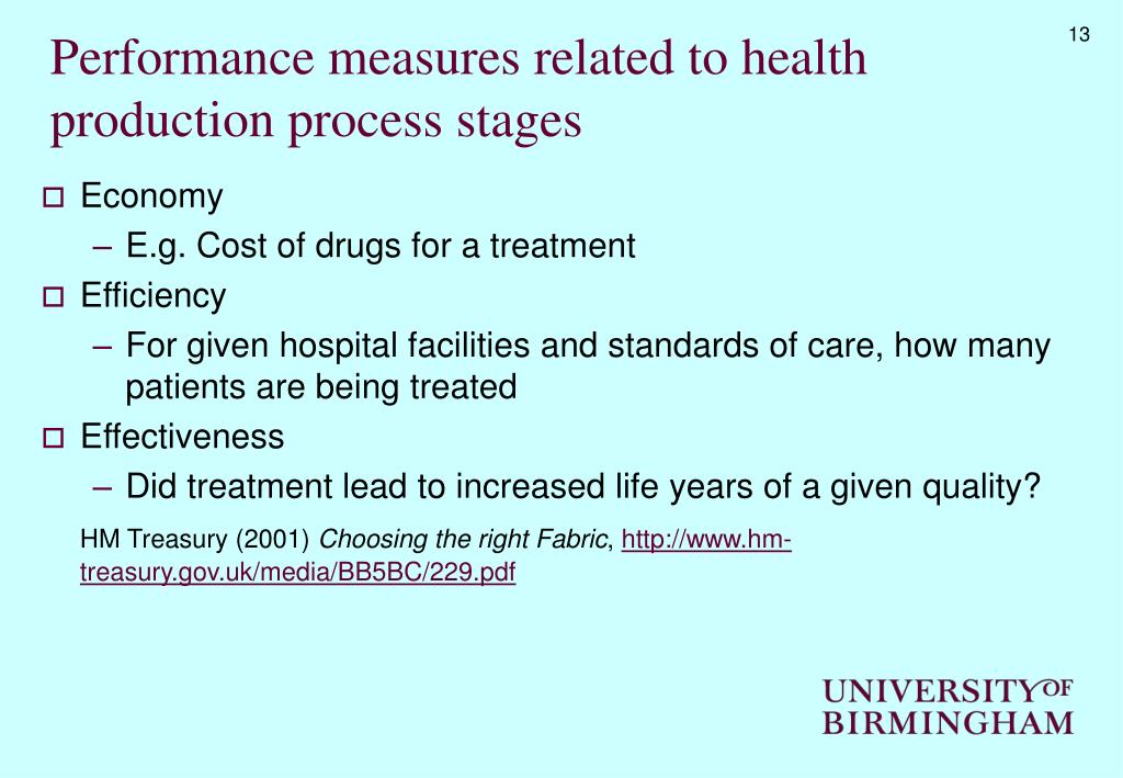 Performance measures related to health production process stages