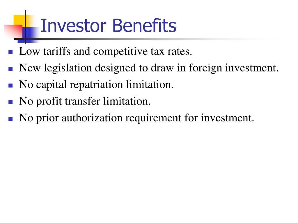 Investor Benefits