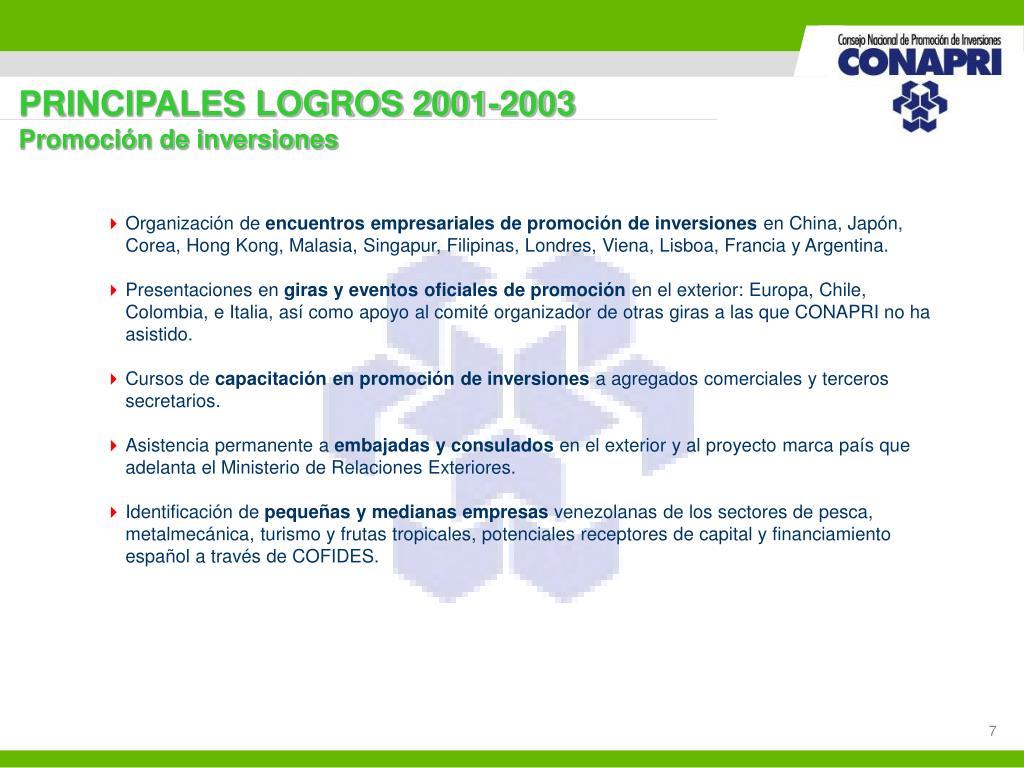 PRINCIPALES LOGROS 2001-2003