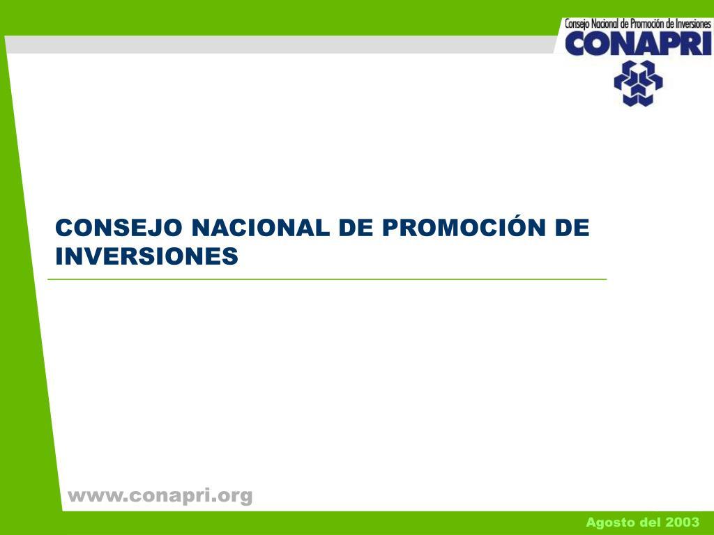 CONSEJO NACIONAL DE PROMOCIÓN DE INVERSIONES
