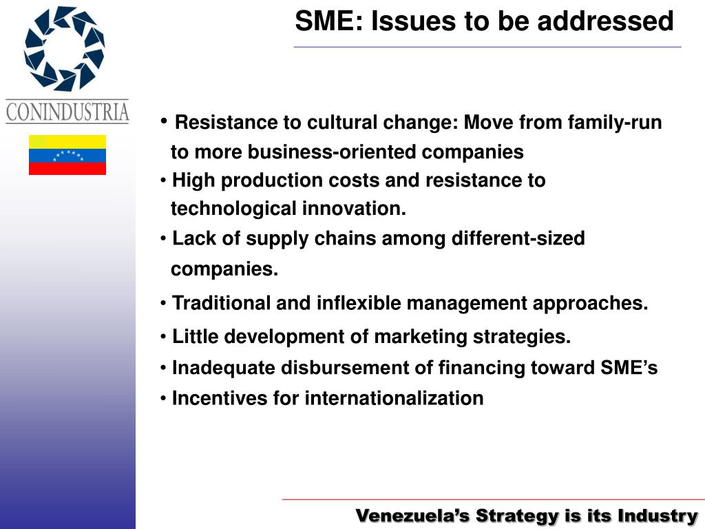 SME: Issues to be addressed