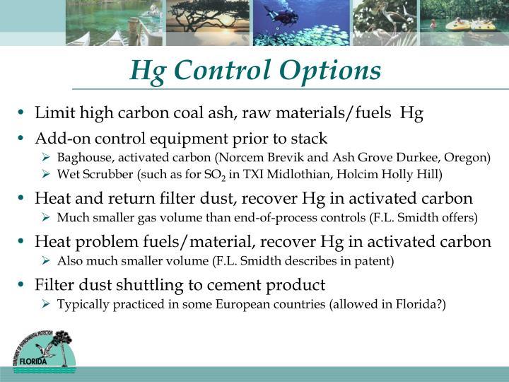 Hg Control Options