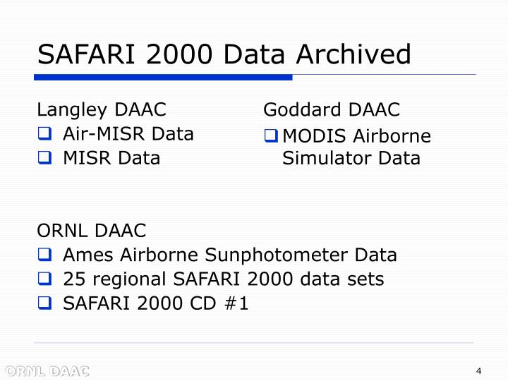 SAFARI 2000 Data Archived